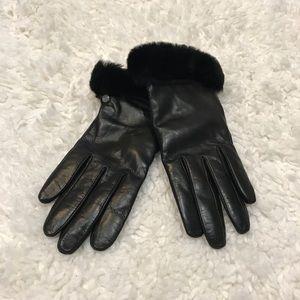 NWT! UGG Leather Black Gloves